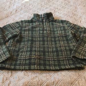 Sweaters - Plaid Sherpa 1/4 Zip Sweatshirt camping clothes